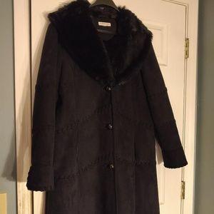 Coldwater Creek black, suede-look coat